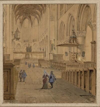 Blick in den Chor von St. Bavo in Haarlem von Jan Nickelen