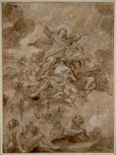 Die Jungfrau Maria als Fürsprecherin der Seelen im Fegefeuer von Anonym