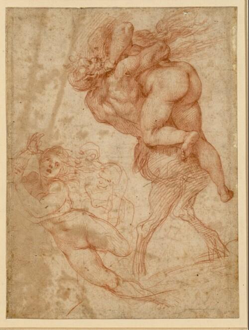 Studienblatt. Ein Faun raubt eine Nymphe; Einzelstudie der Nymphe in anderer Stellung; zwei karikierte Köpfe alter Männer von Bernardino Cesari