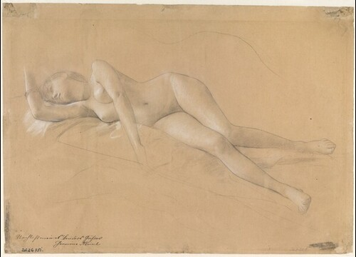 Liegende Mänade (Studie für Altar des Dionysos, Lünette im südlichen Stiegenhaus des Wiener Burgtheaters) von Gustav Klimt