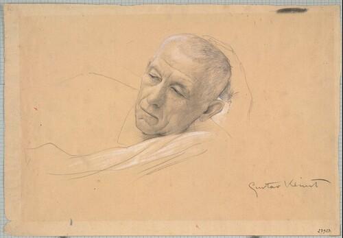 Kopf eines liegenden Mannes (Studie für Theater in Taormina, Deckenbild im nördlichen Stiegenhaus des Wiener Burgtheaters) von Gustav Klimt