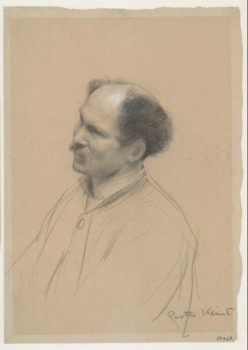 Mann in Dreiviertelansicht (Studie für Theater Shakespeares, Deckenbild im südlichen Stiegenhaus des Wiener Burgtheaters) von Gustav Klimt