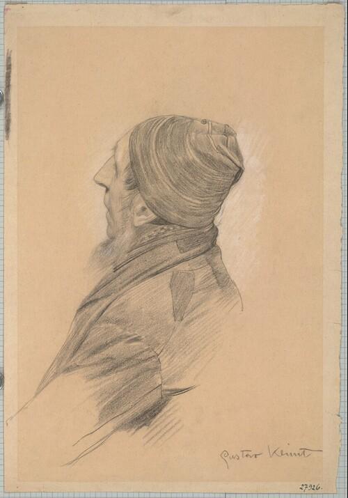 Mann mit Bart und Mütze im verlorenen Profil (Studie für Theater Shakespeares, Deckenbild im südlichen Stiegenhaus des Wiener Burgtheaters) von Gustav Klimt