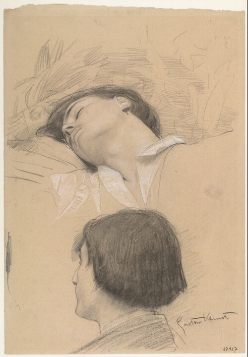 Liegender junger Mann (Romeo) und Mann im verlorenen Profil (Studie für Theater Shakespeares, Deckenbild im südlichen Stiegenhaus des Wiener Burgtheaters) von Gustav Klimt