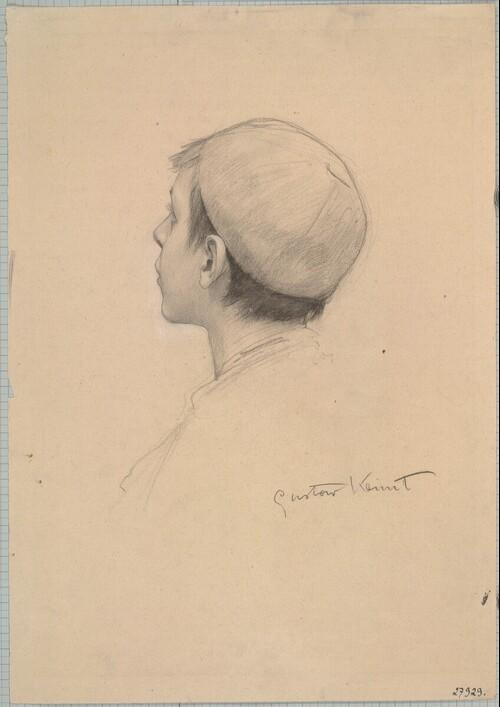 Knabe im verlorenen Profil (Studie für Theater Shakespeares, Deckenbild im südlichen Stiegenhaus des Wiener Burgtheaters) von Gustav Klimt
