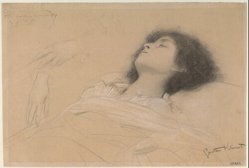Liegendes Mädchen (Julia) und zwei Handstudien (Studie für Theater Shakespeares, Deckenbild im südlichen Stiegenhaus des Wiener Burgtheaters)