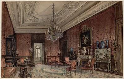 Roter Salon im Palais Chotek in Wien von Rudolf von Alt