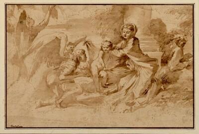 Heilige Familie mit zwei Engeln vor dem Sockel einer Säule in freier Landschaft von Giovanni Francesco Castiglione