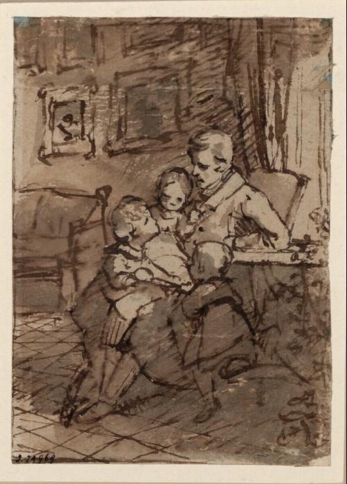 Bildnisstudie: Arthaber mit Kindern von Friedrich von Amerling