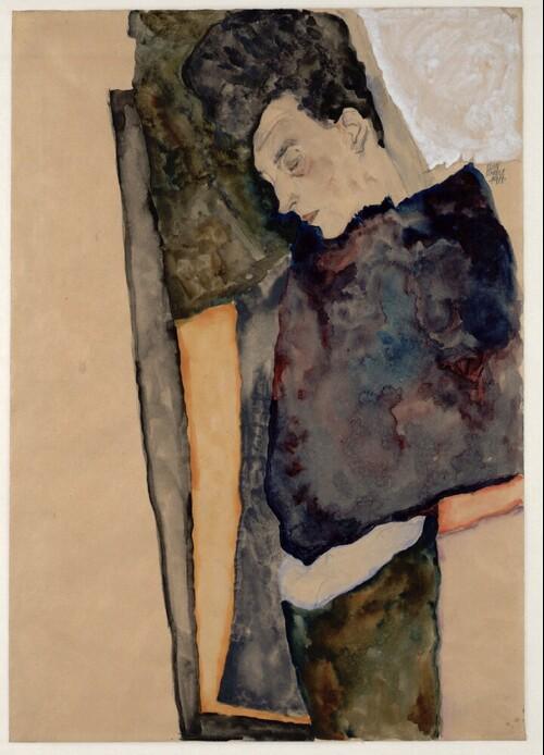 Die schlafende Mutter des Künstlers von Egon Schiele