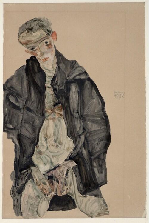 Selbstbildnis als Halbakt in schwarzer Jacke von Egon Schiele
