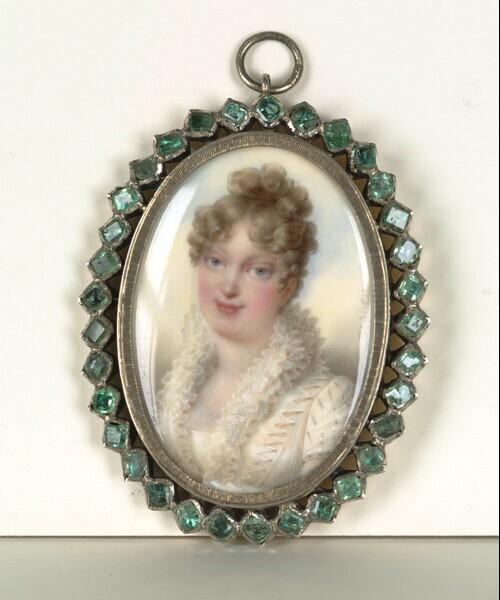 Marie Louise, Kaiserin von Frankreich, Gattin Napoleons I., geb. Erzherzogin von Österreich (1791-1847), in weißem Spitzenkleid von Jean-Baptiste Isabey