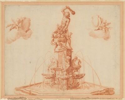 Der Herkulesbrunnen in Augsburg (Kopie des oberen Teils des Kupferstichs von Jan Muller aus dem Jahr 1602) von Jan Harmensz. Muller