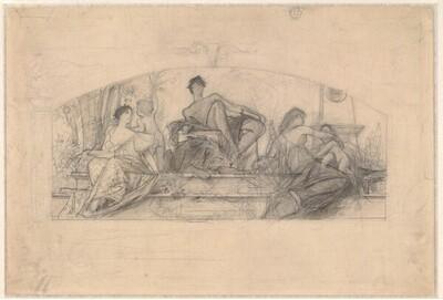 """Kompositionsentwurf für """"Die Reiche der Natur"""" (Vorlage zu: Allegorien und Embleme Nr. 39) von Gustav Klimt"""