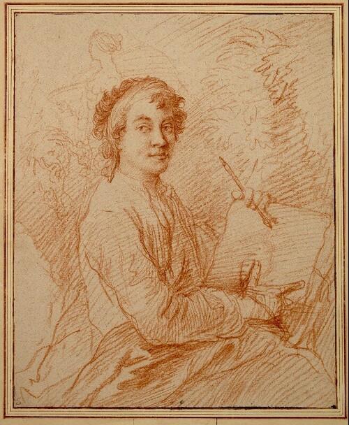 Selbstporträt des Künstlers (Kniestück) mit Zeichenblock in der Hand von Christian Wilhelm Ernst Dietrich