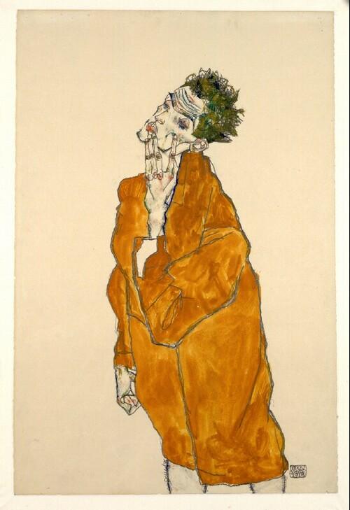 Selbstbildnis in oranger Jacke von Egon Schiele