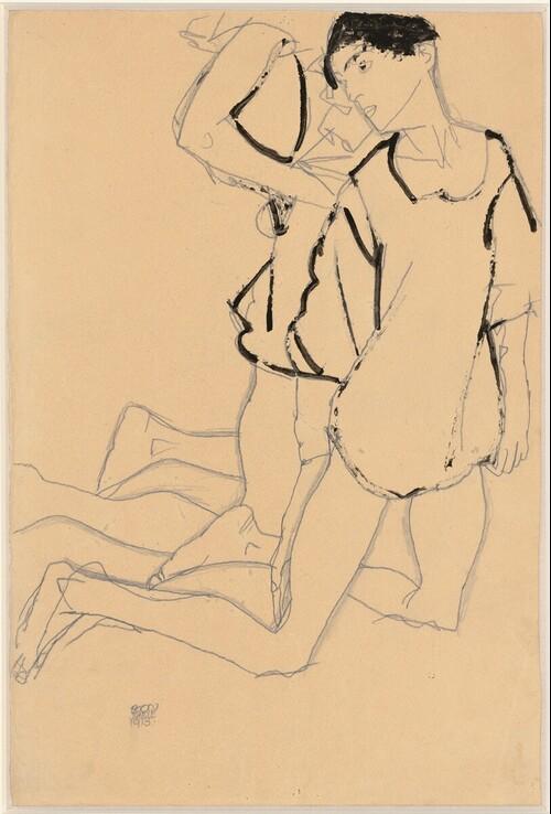 Parallelogramm (Kniendes Paar) von Egon Schiele