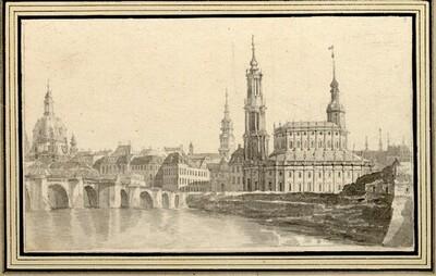 Folge von Sächsischen Ansichten: Dresden, katholische Hofkirche, links die Kuppel der Frauenkirche von Johann Emanuel Goebel