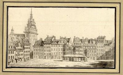 Folge von Sächsischen Ansichten: Dresden, Altmarkt mit der Kreuzkirche vor ihrer Zerstörung 1760 von Johann Emanuel Goebel