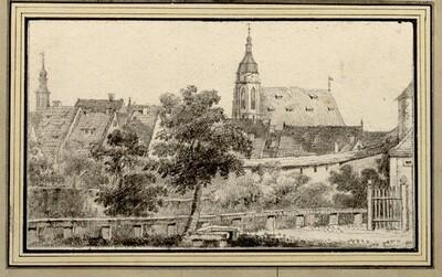 Folge von Sächsischen Ansichten: Teilansicht von Pirna mit der Marienkirche von Johann Emanuel Goebel