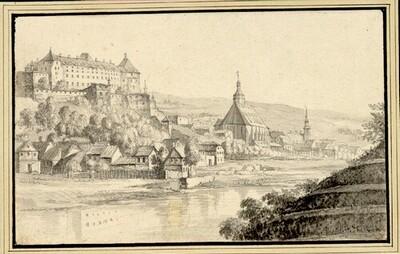Folge von Sächsischen Ansichten: Pirna mit Schloss Sonnenstein, im Vordergrund die Elbe von Johann Emanuel Goebel