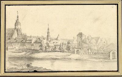 Folge von Sächsischen Ansichten: Pirna, im Vordergrund die Elbe von Johann Emanuel Goebel