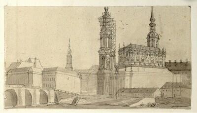 Folge von Sächsischen Ansichten: Unausgeführte Ansicht von Dresen mit dem eingerüsteten Turm der Frauenkirche (Hofkirche) von Johann Emanuel Goebel