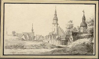 Folge von Sächsischen Ansichten: Ansicht von Bischofswerda von Johann Emanuel Goebel