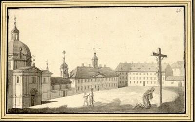 Folge von Sächsischen Ansichten: Hauptplatz einer unbekannten Stadt mit Kirche und Mönch, der vor einem Kruzifix kniet von Johann Emanuel Goebel