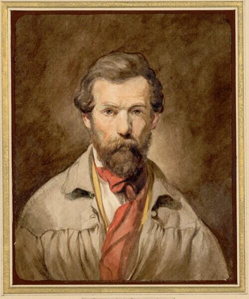 Selbstporträt des Künstlers in jungen Jahren. Brustbild von vorne gesehen; er ist bekleidet mit einem Malerkittel und roter Krawatte von Friedrich von Amerling