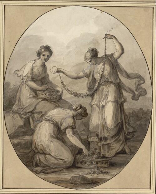 Allegorie des Frühlings: Drei junge Frauen mit Blumengirlanden