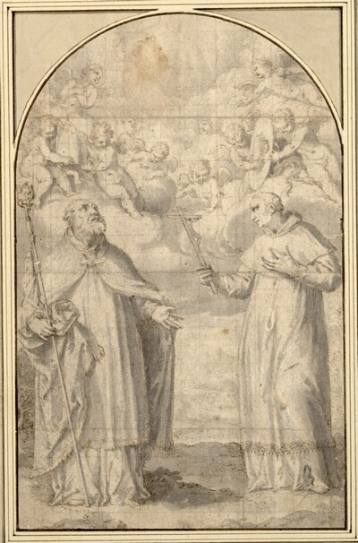Zwei Heilige mit Engeln. (Links der heilige Ambrosius, die Infula über seinem Haupt, und Karl Borromäus, den von Engeln gehaltenen Kardinalshut über seinem Haupt) von Francesco Vanni