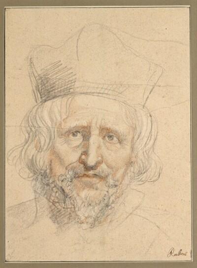 Porträtstudie eines Geistlichen mit Birett, en face von Anonym