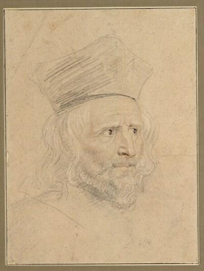Porträtstudie eines Geistlichen mit Birett, im Dreiviertelprofil nach rechts von Anonym