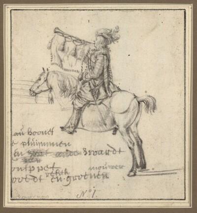 Ein Trompetenbläser zu Pferde von Philips Wouwerman