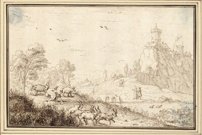 Flußlandschaft mit Burg, vorne vier Ziegen und ein Schweinehirt (I-14c) von Albert Flamen