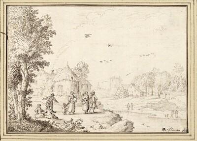Flußlandschaft mit Frauen, Kindern und Männern vor einem Dorf (II-14) von Albert Flamen