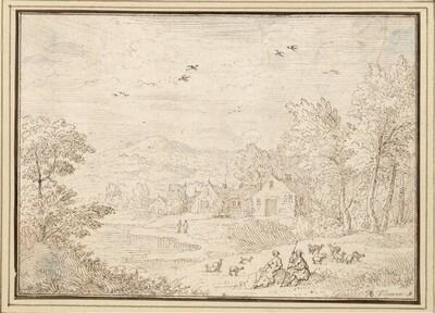 Hügellandschaft mit Dorf, vorne ein Schäferpaar (II-48) von Albert Flamen