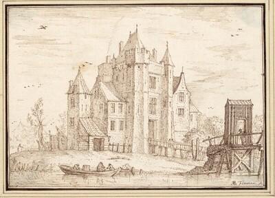Blick auf ein altes Schloß, vorne ein kleines Fischerboot und eine Holzbrücke (III-2) von Albert Flamen
