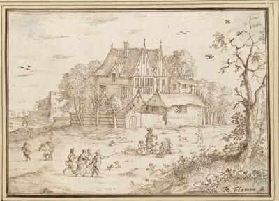 Blick auf ein Haus zwischen Bäumen, davor eine fröhliche Gesellschaft auf der Wiese (III-15) von Albert Flamen