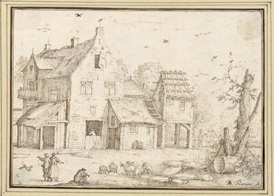 Blick auf ein Gehöft, vorne ein Schäfer und ein Bauernpaar (III-21) von Albert Flamen