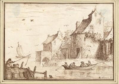 Stadtmauer am Wasser, vorne ein Angler und ein Ruderboot (III-42) von Albert Flamen