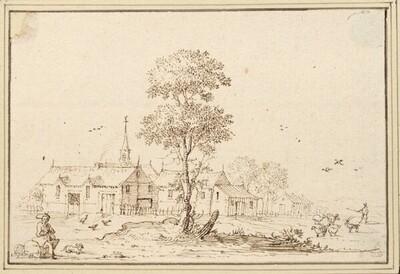Blick auf ein Dorf, vorne in der Mitte ein Bäumchen (IV-9) von Albert Flamen