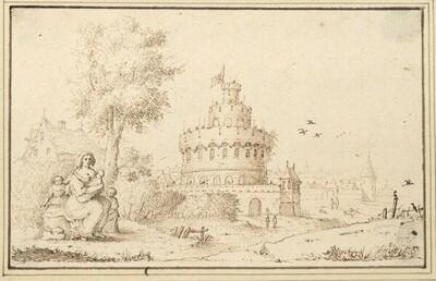 Blick auf einen Festungsturm, vorne eine sitzende Frau mit drei Kindern (IV-12) von Albert Flamen