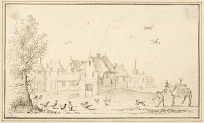 Landschaft mit Häusern, vorne Hühner und ein aufgeputztes Maultier (IV-17) von Albert Flamen