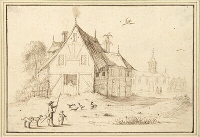 Blick auf ein Bauernhaus, davor ein Jäger mit Hunden und ein Hühner fütterndes Mädchen (IV-21) von Albert Flamen