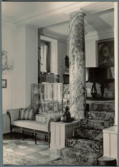 Villa Karl und Hilda Strasser (Umbau und Erweiterung), Wien XIII., Kupelwiesergasse 28, Salon, Durchblick zum Musikpodium von Martin Gerlach jun.