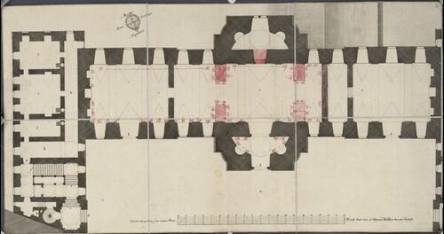 Wien I, Hofburg, Hofbibliothek, Parterre, Grundriß, mit späterer Eintragung der Stützpfeiler von Salomon Kleiner