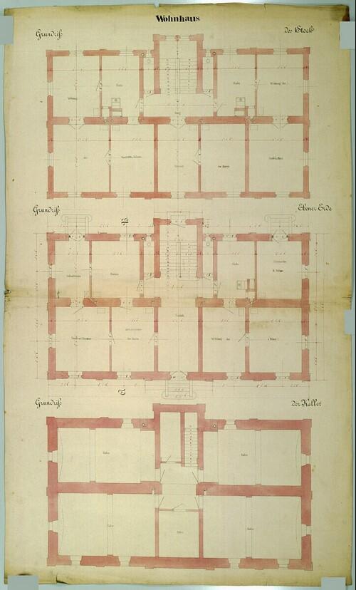 Wien II, Prater (Schüttel), Etablissement Hasenauer, Wohnhaus, Grundrisse von (Freiherr) Carl von Hasenauer
