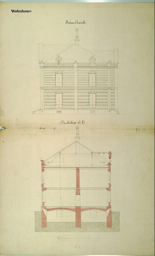 Wien II, Prater (Schüttel), Etablissement Hasenauer, Wohnhaus, Aufriß und Schnitt von (Freiherr) Carl von Hasenauer